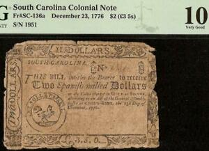 1776 $2 TWO DOLLAR BILL SOUTH CAROLINA COLONIAL CURRENCY NOTE MONEY SC-136a PMG