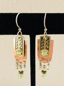 Artisan Copper, Brass, Silver w/ Peridot & Crystal Beads Pierced Dangle Earrings