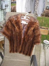 "#T15 super soft dark brown mink fur stole wrap 57"" inches long medium"