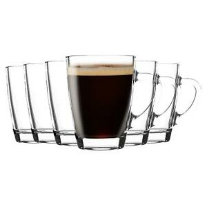 Glass Coffee Cups with Handle Set of 6  300ml Clear