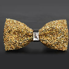Men's Wear Bow Tie Crystal Glitter Silver Wedding Smart Ball Party Prom UK