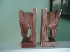 vintage retro  pair large wooden horse head bookends