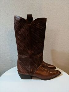 Sesto Meucci Riding Western Woven Brown Leather Boots Italy Womens Sz 7.5 S