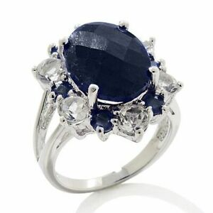 HSN Colleen Lopez Blue Corundum and Gemstone Platinum Plated Cluster Ring 5