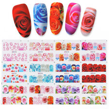 12 Patterns/Sheet Water Decal Rose Flower Nail Art Transfer Stickers Tattoo Tips