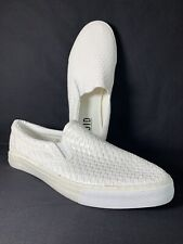 Fluid White Faux Leather Slip On Trainers Sneakers Criss-Cross Unisex UK Size 9
