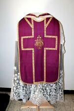 Chasuble de prêtre Romaine en soie violette avec étole XIXe Siècle