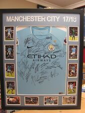 2017/18 MANCHESTER CITY SIGNED & FRAMED EPL SOCCER SHIRT/JERSEY/JUMPER
