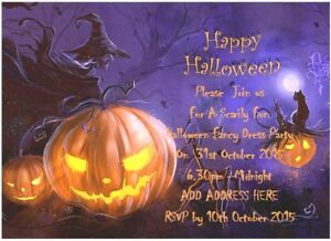 ***20 Halloween Party Invitations with FREE Personalisation & FREE Envelopes***