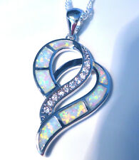 "*Uk Seller*Gorgeous White Fire Opal Double Heart 925 Pendan + 20"" Silver Chain"