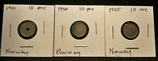 Lot of 3 Norway 10 Ore Coins, See Picture for Exact Coins you are purchasing. #6