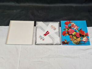 Vintage Boxed Set of 3 Irish Linen Handkerchiefs with Floral Embroidery