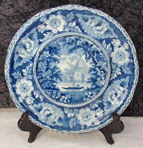 Staffordshire Blue Transferware Surseya Ghaut, Khanpore India Sauce Tureen Tray