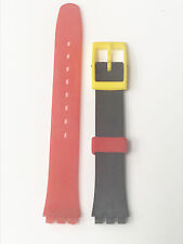 Genuine Red Black Yellow Rubber/Plastic Material 14mm Yellow Buckle Watch Band