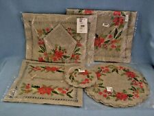 Christmas Poinsettia Linens Embroidered Table Runner Coaster Placemats Napkin