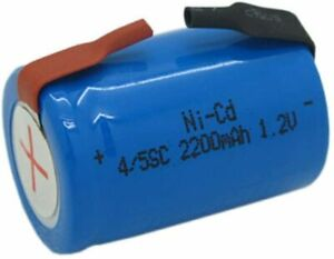 NI-CD 4/5 SC 2200 mAh SUB C 1.2V RECHARGEABLE BATTERY WITH SOLDERING LUGS