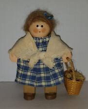 "Vintage ""Lizzie"" Wood Doll Lady with Flower Basket"