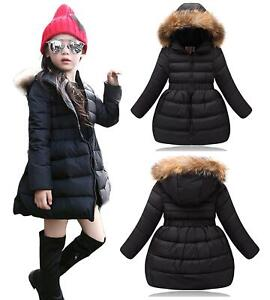 Kids Quilted Padded Girls Long Parka Winter Coat With Faux Fur Trim Hood - Black