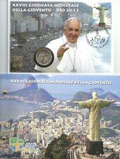 Vaticano 2013 enumeratori. NUMISBRIEF con 2 € euro GM Gioventù Rio de Janeiro