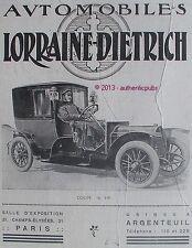 PUBLICITE AUTOMOBILE LORRAINE DIETRICH COUPE 16 HP DE 1912 FRENCH AD PUB RARE
