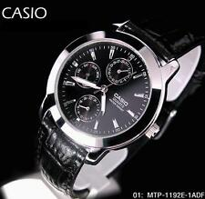 Latest Casio MTP-1192E-1A Day Date Analog Quartz Black Leather classic Men Watch