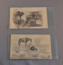 1908 POST CARDS ORIGINAL COWBOY ROUNDUP WAGON DRAWINGS BIXBY SOUTH DAKOTA WILSON