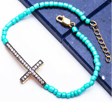 YELLOW GOLD FINISH TURQUOISE BEAD Sideways Cross Bracelet Solid SILVER 7-8""