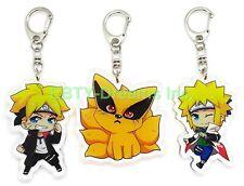 Set of 3 Naruto Anime Acrylic Keychain Uzumaki Boruto, Namikaze Minato, Kurama