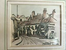 """Lithograph from a wood engraving titled """"The Swan Thames Ditton"""" 1920"""