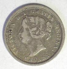 CANADA QUEEN VICTORIA 1870 FLAT RIM 5 CENTS CH VF+