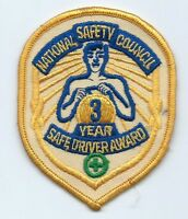 National Safety Council 3 year safe driver award driver patch 4 X 3-1/8