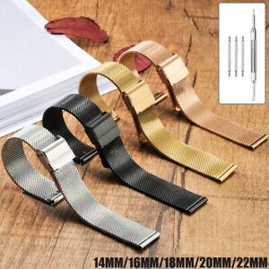 18/20/22mm Stainless Steel Metal Strap Watch Band Thin Mesh Belt Men Women+Tool
