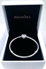 PANDORA Women's Moments Sterling Silver Bracelet With Pave Heart Clasp 18 Cm - 590727cz