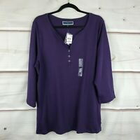 Karen Scott Plus Size Split Neck Henley Top Womens 1X Purple Cotton Knit Basic