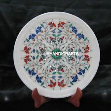 """White 12"""" Round Marble Wall Plate Marquetry Lapis Lazuli Floral Inlay Home Decor"""