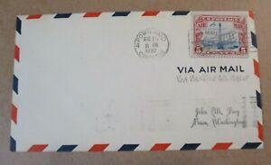 """COVER 1930 """"AIR MAIL w/FANCY CLASSIC BI-PLANE CANCEL"""" """"  PORTLAND, OREGON"""