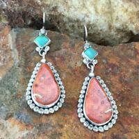 Boho Tibetan Eardrop Turquoise Big Dangle Hook Earrings Women Ethnic Jewelry