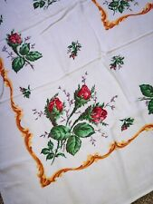 """New listing Vintage Tablecloth White W/Pink/Red Rose Center & Border 54"""" x 43"""" Beautiful"""