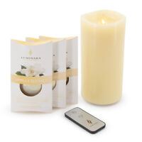 """Luminara 7.5"""" Wax LED Flameless Candle Flickering Scented with Remote and Timer"""