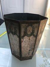 Vintage Metal Trash Can Octagon Antique Wastebasket