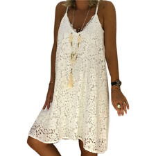 Plus Size Women Lace V-neck Strappy Dress Summer Beach Cami Vest Swing Sundress