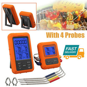 Food Cooking Wireless Digital Meat Thermometer + 4 Probes For BBQ Grill Oven NEW