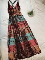 M. FREDRIC sz Med Tye Dye Maxi Dress Cross Back Peach Coral Teal Brown Gorgeous