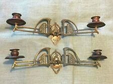 ORNATE ART DECO COPPER & BRASS ART NOUVEAU PAIR WALL SCONCES CANDLE HOLDERS