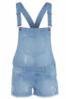 Womens Ladies Dungarees Denim Wash Braces Short Playsuit Sizes 8 10 12 14 16