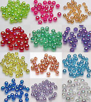 100Pcs Natural Acrylic Plated AB Round Loose Spacer Beads Jewelry Making DIY 8MM