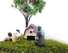 4 pcs of Miniature Cow Barn Terrarium Set Fairy Garden Animal Ornament