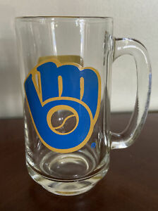1980's MILWAUKEE BREWERS Glass Beer Mug MLB Baseball Vtg WTMJ TMJ Channel 4 NBC