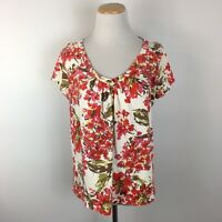 Talbots Women's Red Floral Short Sleeve Scoopneck Tee T-Shirt Size Large