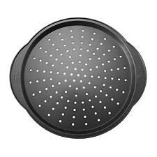 Pizza Tray Pan Crisper Non-Stick Carbon Steel Classic For Bakeware 12 Inch Black